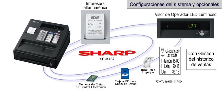 Configuraciones modelo sharp XE-A137