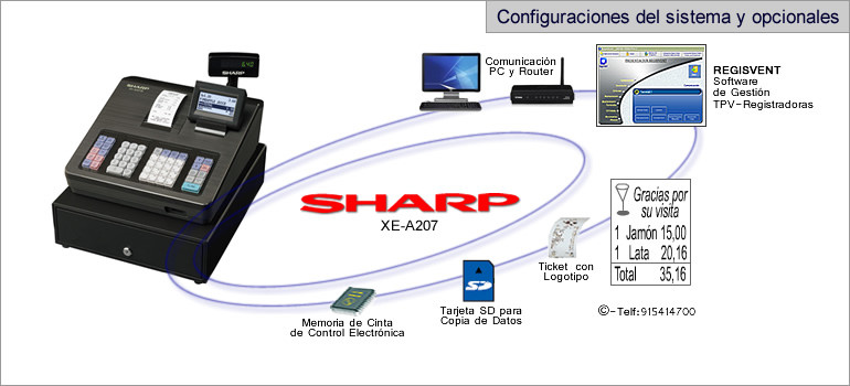 Configuraciones modelo sharp XE-A207
