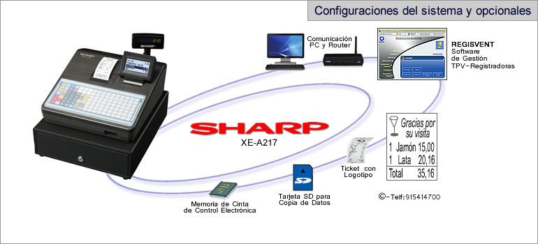 Configuraciones modelo sharp XE-A217