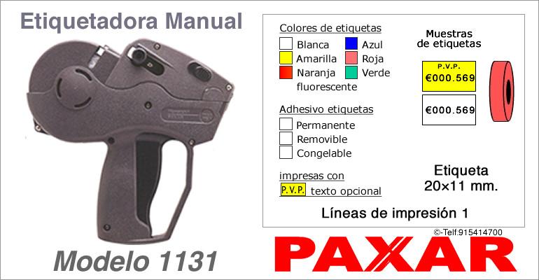 Etiquetadora manual modelo 1131 y rollos de etiquetas PAXAR