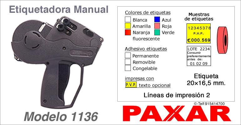 Etiquetadora manual modelo 1136 y rollos de etiquetas PAXAR