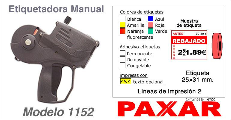 Etiquetadora manual modelo 1152 y rollos de etiquetas PAXAR