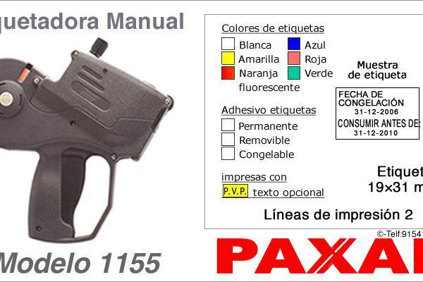 Etiquetadora manual modelo 1155 y rollos de etiquetas PAXAR