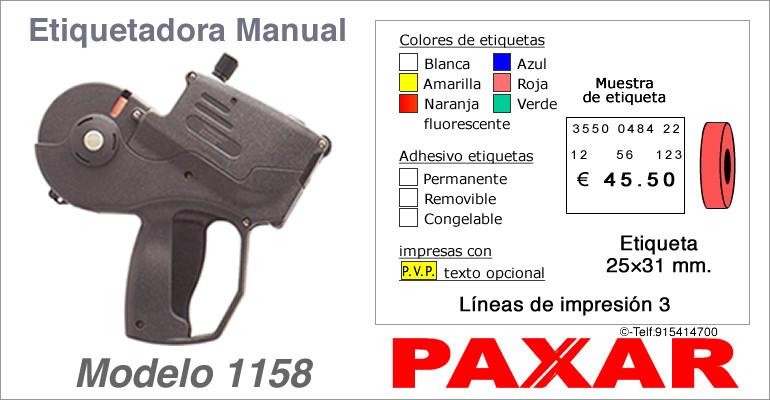 Etiquetadora manual modelo 1158 y rollos de etiquetas PAXAR